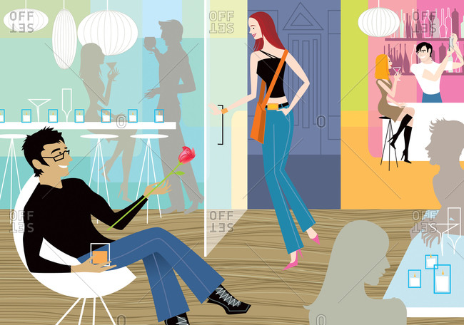 Hip young woman meeting a guy for a date in a modern bar
