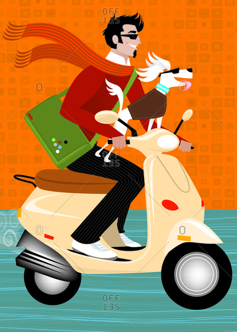 Handsome man on scooter with dog