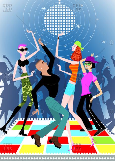 Hipster women/lesbians dancing in a nightclub