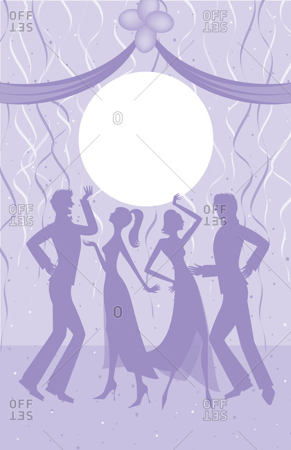 Silhouettes of couples in formal attire dancing with streamers and confetti in background