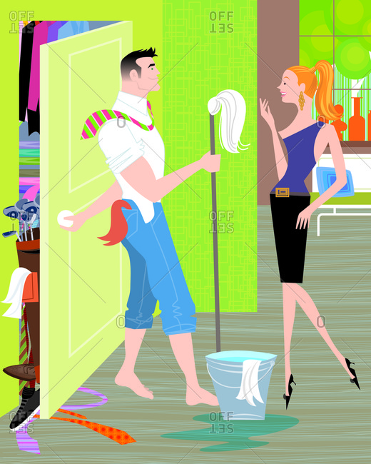 Woman is surprised that her boyfriend  cleaned the house however she is unaware he\'s hiding the mess in the closet