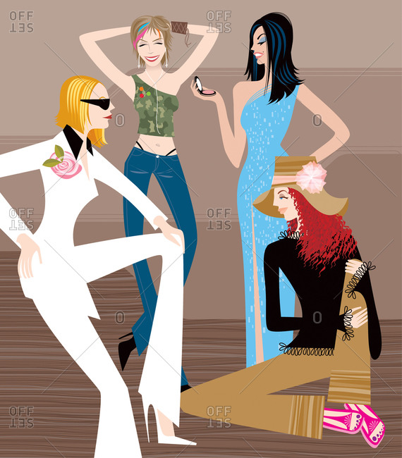 Four sexy women with different personal styles: minimal in white, hipster in jeans and camouflage, glamorous in gown, bohemian in hat and bell bottoms with sandals