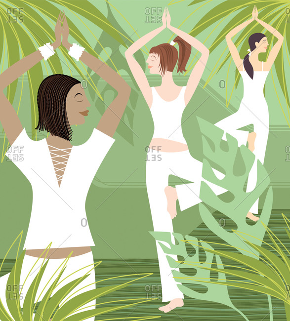 Three woman doing yoga in lush green tropical setting
