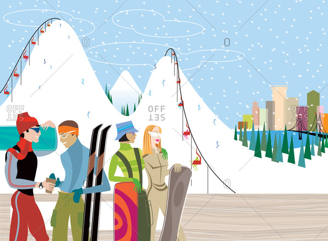 Gay couple and lesbian couple in modern ski clothes with snowboards with snow covered slopes and city skyline in background