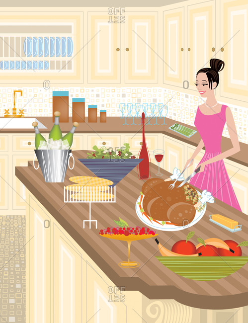 Woman carving turkey in traditional styled luxurious kitchen