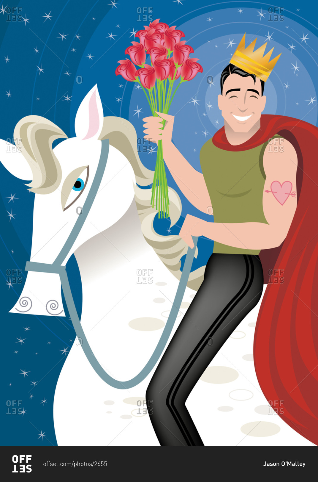 handsome prince charming muscle man on white horse with a crown