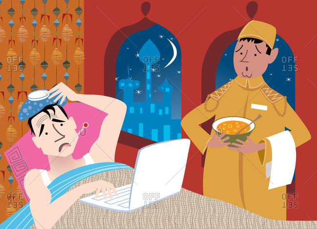Business man running a fever in foreign hotel typing on laptop with attendant wearing a fez and tunic holding bowl of soup