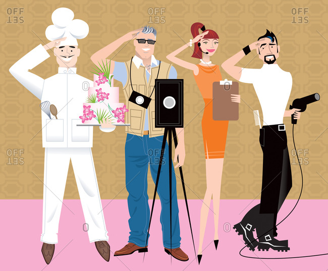 It takes a village to make a wedding happen: pastry chef, photographer, wedding planner, hair stylist