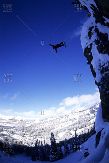Man ski jumping in Utah