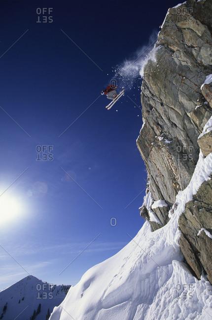 Man jumping a cliff in Utah
