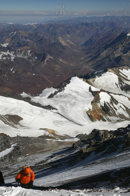 Mountaineer struggling upward on Aconcagua Summit Day, Andes Mountains, Argentina