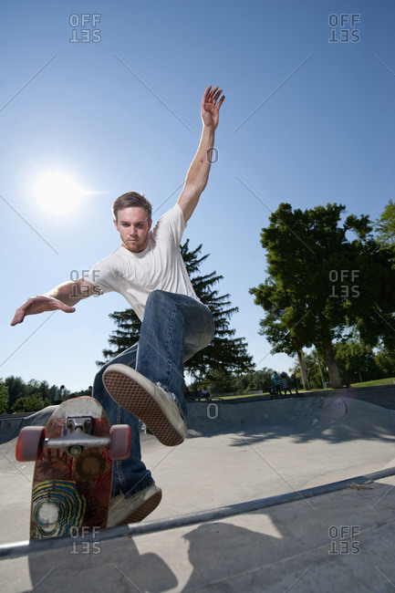 A skateboarder rides at a skatepark in Salt Lake City, UT