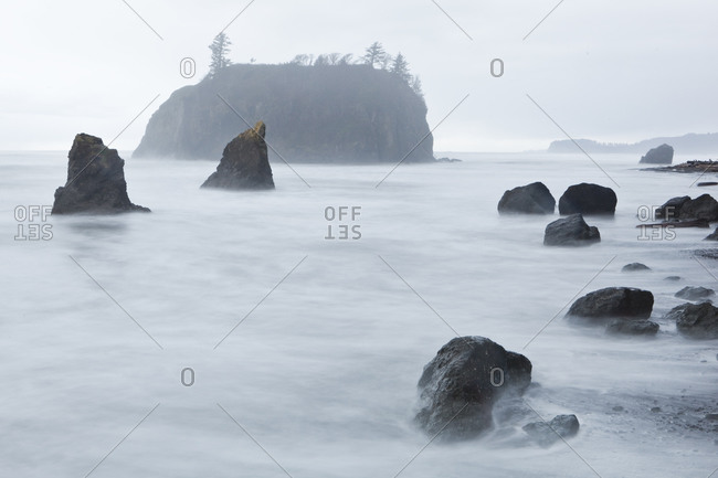 Long exposure of wave motion at Ruby Beach, Olympic National Park, Washington