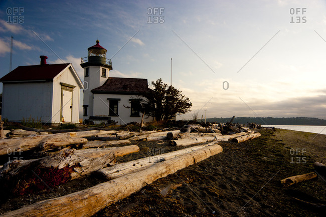 A beachfront lighthouse overlooking the Puget Sound in Washington Sate
