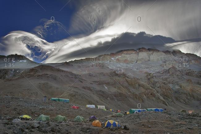 Spectacular clouds on Aconcagua, Argentina
