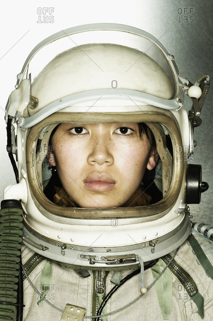 Close up portrait of woman astronaut