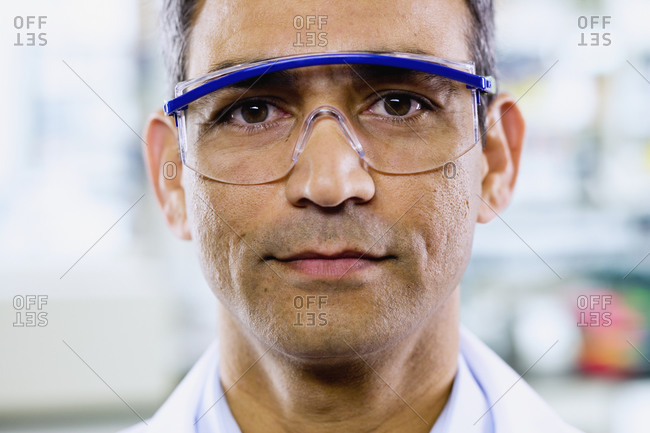 Close up of Indian man with protective eyewear