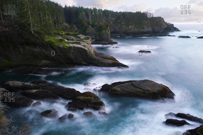 Ocean and rocky shore of remote area