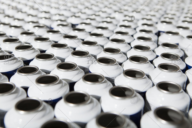 Close up of metal cans in factory