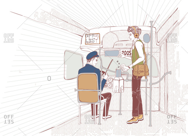 Illustration of bus driver in bus