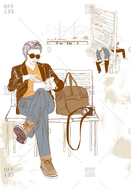Illustration of men waiting at bus stop