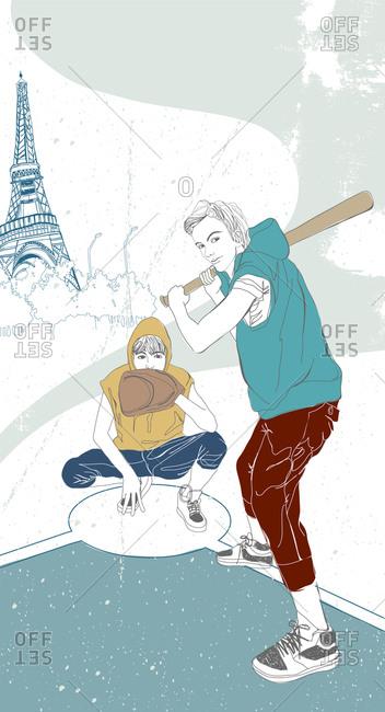 Illustration of men playing baseball