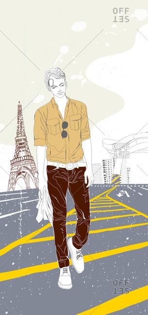 Illustration of man near Eiffel Tower
