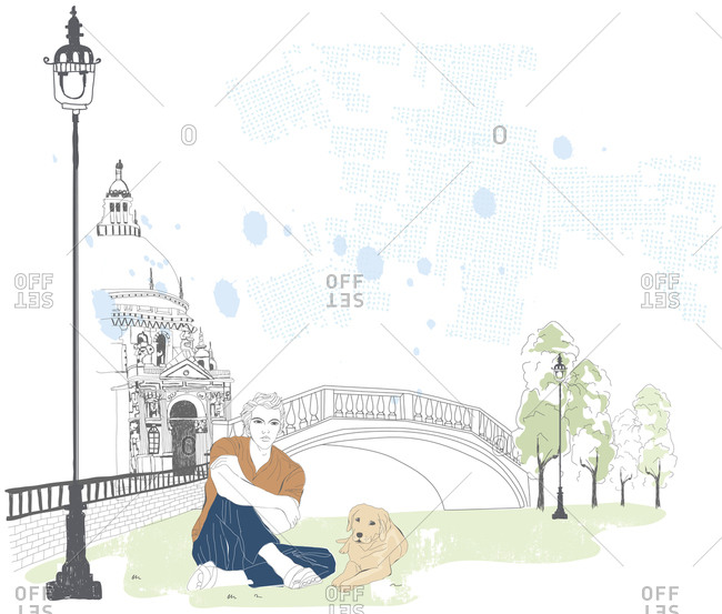 Illustration of man sitting with dog at the park