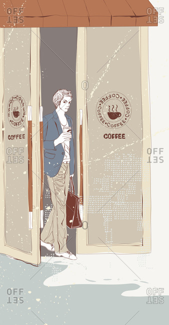 Illustration of businesswoman with coffee