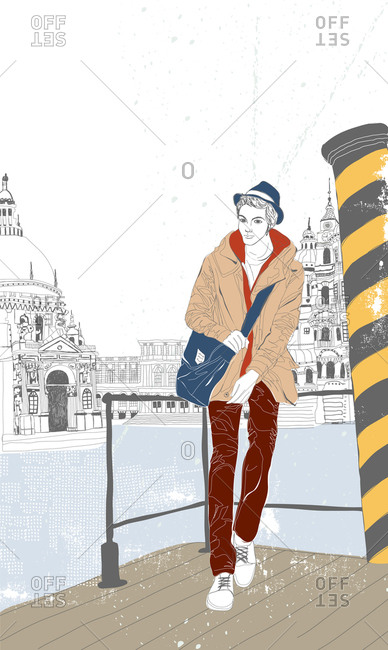 Illustration of man with hat standing in front of beautiful buildings