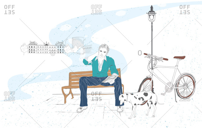 Illustration of man on bench with bicycle