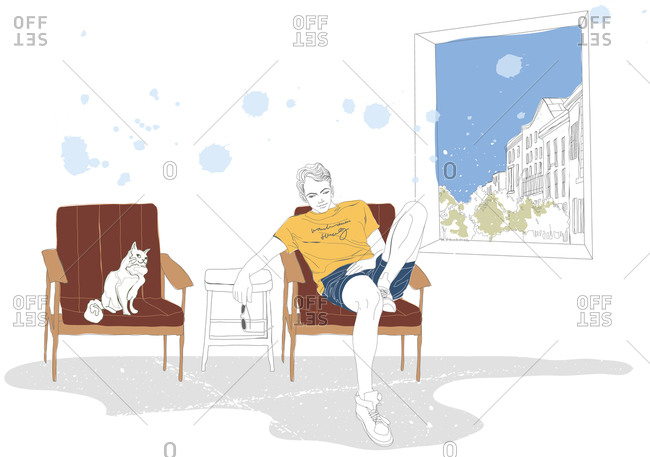 Illustration of boy relaxing on chair with cat