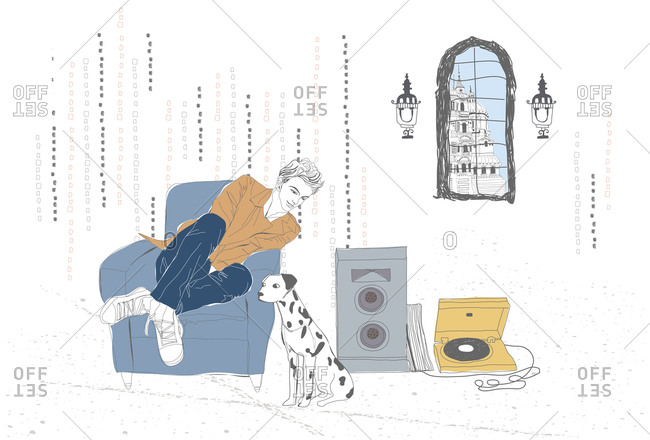 Illustration of boy listening music with his pet
