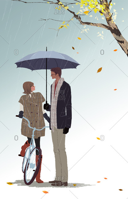 Illustration of couple standing under umbrella