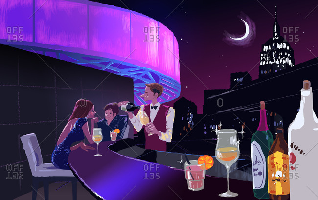 Illustration of a couple on a date at a rooftop bar
