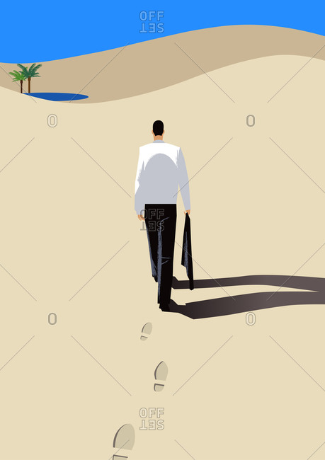 Businessman Walking In Desert - Offset