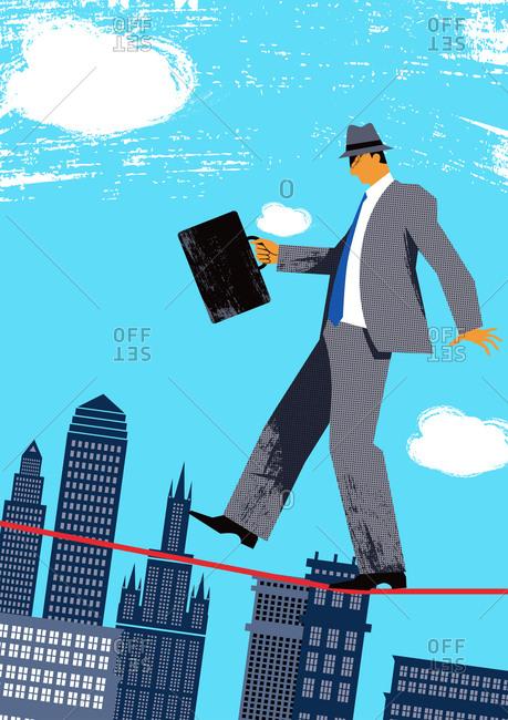 Businessman Walking On Single Rope