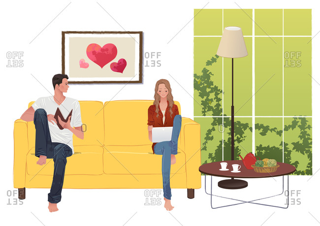 Couple Relaxing At Home And Enjoying Hobby