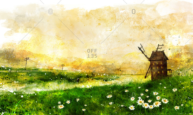 Wind Mill And Green Landscape