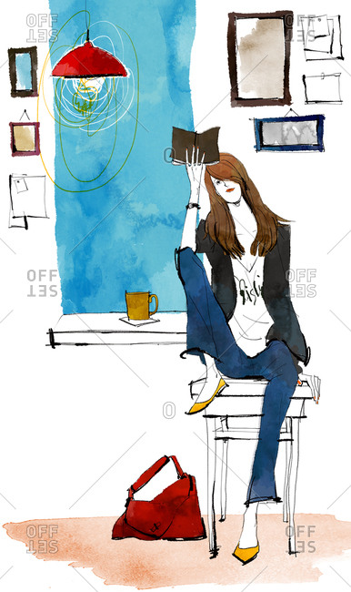 Woman Reading Books At Home