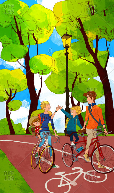 Family Cycling Together - Offset Collection