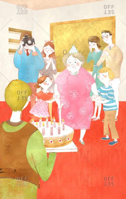 Family Celebrating Grandmother's Birthday - Offset