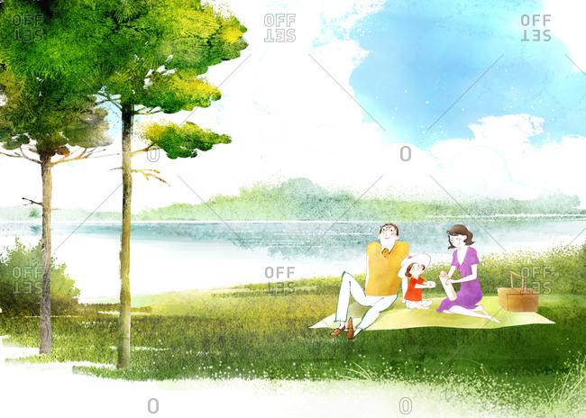 Family Making Picnic Near Lake