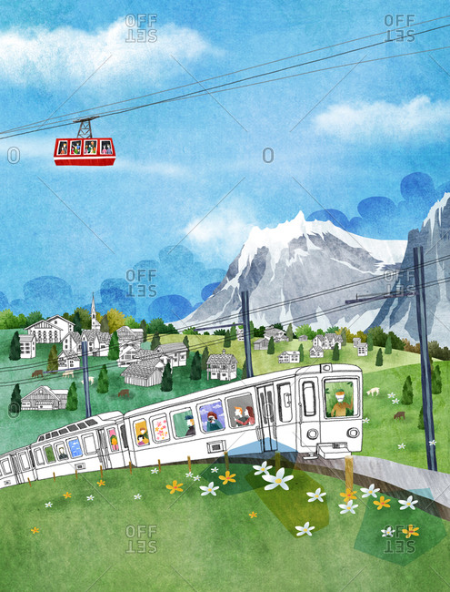 Cable Car And Toy Train On Green Landscape