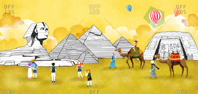 Egypt, Giza, Sphinx And The Pyramid Of Khafre With Camel And Hot, Air, Balloon