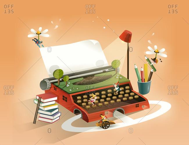 People, Working On Typewriter