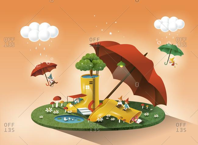 Umbrella And Rainy Boot - Offset