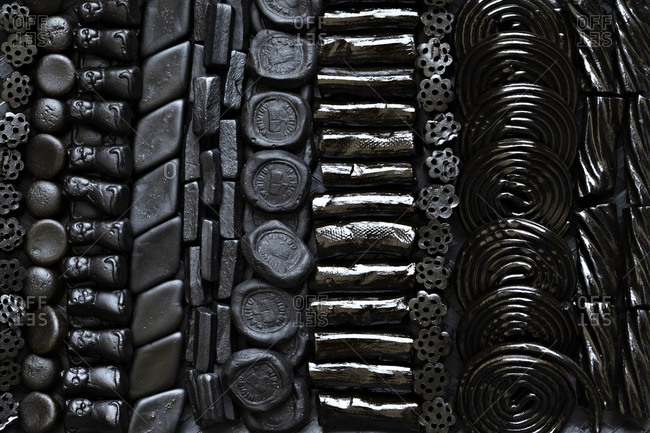 Close up of different kind of liquorice