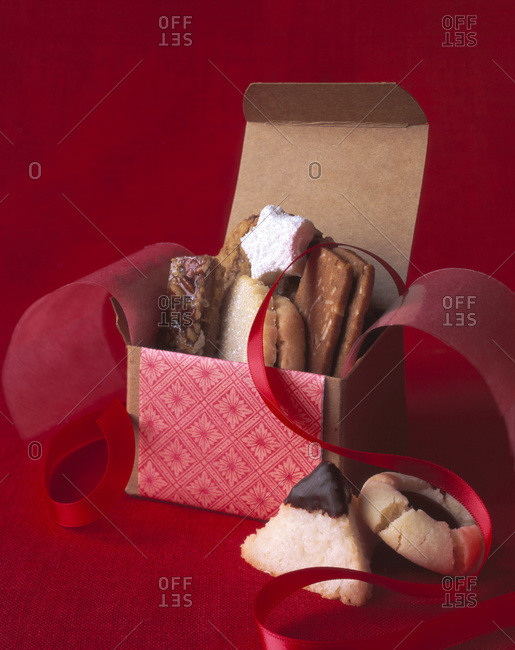 Different cookies in a paper gift box