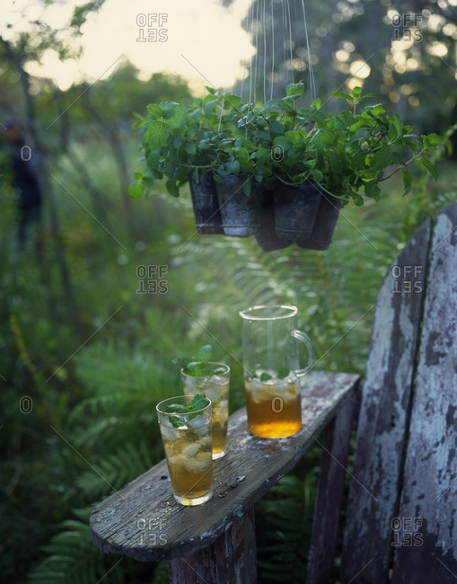 Ice tea in glasses and a pitcher on a bench